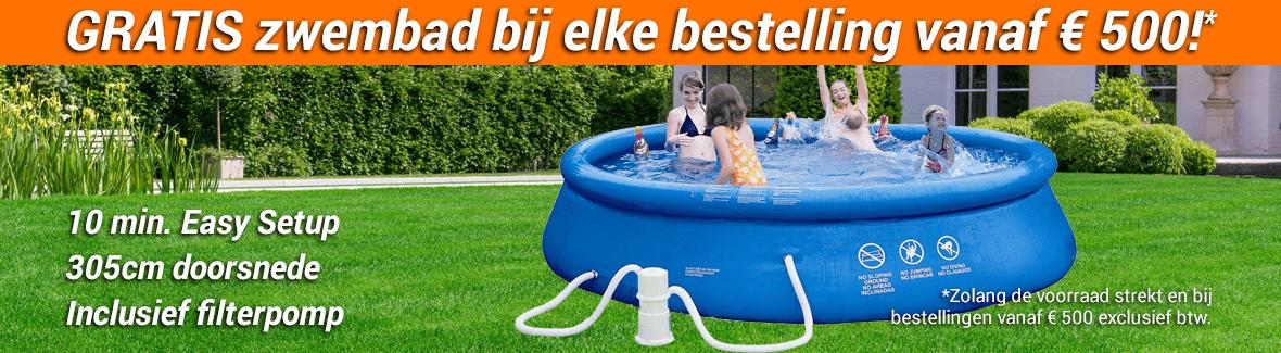 GRATIS Zwembad bij je bestelling vanaf € 500 ex btw.!