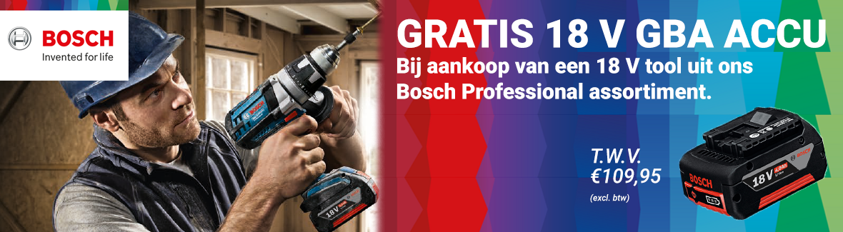 Bosch gratis 18V accu actie